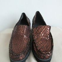 Donald J Pliner Bronze Metallic Rio Croco Inspired Lug Sole Loafers 7.5 M Nwob Photo