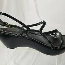 Donald J Pliner Cae Black Leather Strappy Platform Wedge Sandals Women's Sz 8.5 Photo