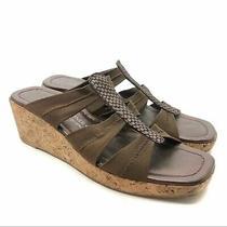 Donald J Pliner Clare Cork Platform Slide Sandals Strappy Faux Snakeskin Size 8 Photo