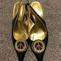 Donald J Pliner Couture Black Fabric Heels Gold Trim 3