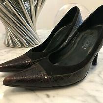 Donald J Pliner Couture Cab Brown Black Croc Pointed Toe Pumps Heels Sz 6.5 M. Photo