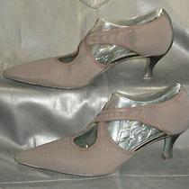 Donald J Pliner Couture Elka Women's Brown Fabric Slip on Cross Strap Pump Sz 8m Photo