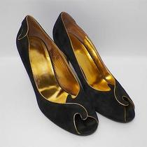 Donald J Pliner Couture Italy Black Gold Suede Open Peep Toe Heels 7 1/2
