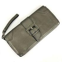Donald J Pliner Couture Metallic Pewter Gray Leather Buckle Clutch Wristlet Euc Photo