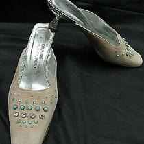 Donald J. Pliner Couture Pink Diamond & Turquoise Embossed Suede Slide Pumps 8m Photo