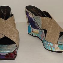 Donald J Pliner Couture Tan Straps Multicolor Wedges Platforms Shoes Size 7.5 M Photo