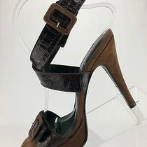 Donald J Pliner Croc Leather Couture High Heels Slingback Burgundy Womens Sz 7m Photo
