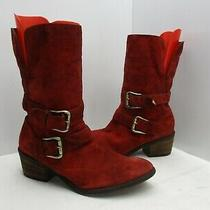 Donald J. Pliner Danee-Bv Red Leather Fold Down Mid Calf Boots Womens Size 7 M Photo