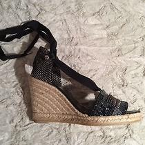 Donald J Pliner Elsa Ddc 4 Canvas Cotton Wedges Platforms Black Sz 8b Photo