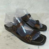Donald J Pliner Fabia Metallic Bronze Wedge Heel Leather Sandals - Sz 8.5 M  Photo