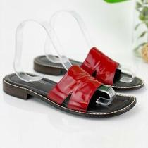 Donald J Pliner Fresco Sandal Women 8m Flat Slide Red Patent Upper Open Toe Photo