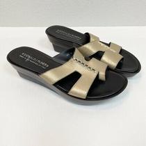 Donald J Pliner Gold Charla Open Toe Wedge Slide Sandals Womens Size 9.5 Photo