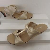Donald J. Pliner Gold Fabric & Leather Mid Heel Mule Sandal 9 M 298.00 Photo