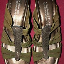 Donald J. Pliner Green Brown Cork Elastic Wedge High Heel Slide Sandals Sz 6 1/2 Photo