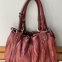 Donald J. Pliner Hobo Bag Purse Leather Raspberry Pink Krinkle 14x10