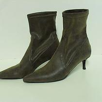 Donald J Pliner Leather and Microfiber Pull on Ankle Boots Size 5m Photo