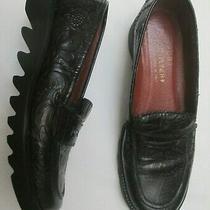 Donald J. Pliner Leather Black on Black Fruit Platform Penny Loafers Sz 7m Exc Photo