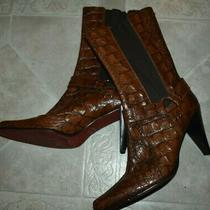 Donald J Pliner Leather Gator/croc Skin Pattern Mid/high Boots Women's 9.5 Italy Photo