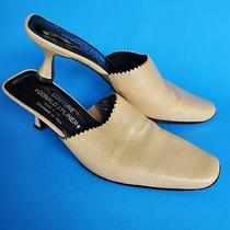 Donald J Pliner Leather Western Square Toe Tan Mules Short Heel Made in Italy  Photo