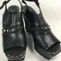 Donald J. Pliner Lisa Platform Black Open Toe Studs Ankle Strap Euc Sz 10 M Photo