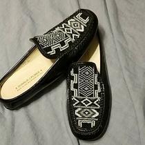 Donald J Pliner Lovage Black Aztec Print Beaded Mule Slip on Loafer Ladies 8.5 Photo