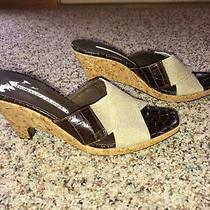Donald J Pliner Mala Brown Leather and Beige Fabric Wedge Cork Heel Sandals 7.5  Photo