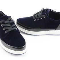 Donald J Pliner Miranda Navy Velvet/black Leather Sneakers Sz 6 Photo