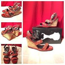 Donald J Pliner Nwb Sexy Red Snake Skin Strappy Cork Wedges Heels Sz 9 250 Photo