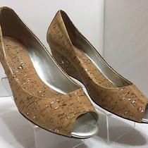 Donald J Pliner Peep Toe Milli Metallic Cork Low Wedge Leather Women's Size 8 M Photo