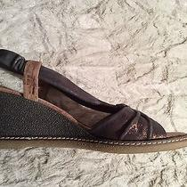 Donald J Pliner Pola-60cf Gray Rust Bronze Natural Wedge Sandals Sz 8 Photo