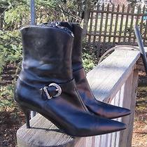 Donald J Pliner Rba Boots Djp Stiletto Heel Leather Bracelet Size 8.5 Nice Black Photo