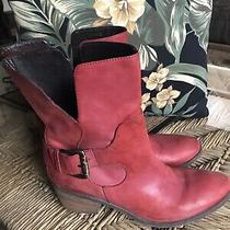 Donald J Pliner Red Leather Donata Boots 8m Photo