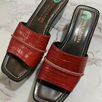 Donald J Pliner Safari Red Leather Moc Croc Platform/wedge Sandal/slide Sz 8 M Photo
