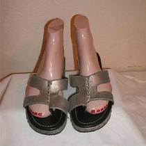 Donald J Pliner Sela Metallic Gray Leather Toe Ring  Sandals Shoes  Size 8  M Photo