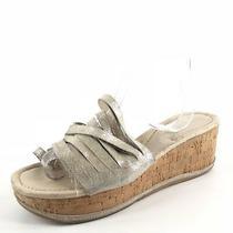 Donald J Pliner Sheena2 Platinum Strappy Cork Wedge Sandals Women's Size 10 M  Photo