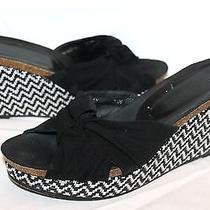 Donald J. Pliner Shoes Womens 7.5 'Bridey' Sandal Wedge Black & White Raffia Photo