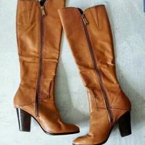 Donald J. Pliner Size 6 Women's Sandora Tan Leather Knee Zip Heeled Boots Photo