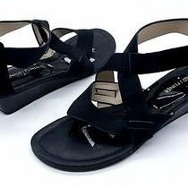 Donald J Pliner Size 7.5 Black Strappy Small Wedge Thong Sandal Shoes Photo