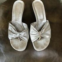 Donald J. Pliner Size 7.5 M Silver Distressed Metalic Leather Slide With Heel Photo