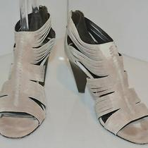 Donald J. Pliner Slate Gray Suede Strappy Cage Heels Zippers Size 7.5 M Italy Photo