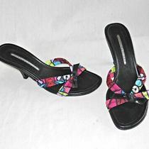 Donald J Pliner Slides Sandals Vintage Mules 7.5m Shaped Heel Neon Print Photo