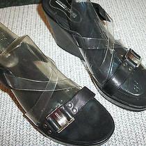 Donald J Pliner (Sport-I-Que) Platform Shoe Size 9 Medium Black Leather Heel 4'' Photo