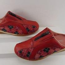 Donald J. Pliner Sport-I-Que Red Leather Plaid  Mule Zipper Pump 7 M 298.00 Photo