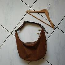 Donald J. Pliner Suede Leather Hobo Shoulder Bag Purse Metal Studs Braid Large Photo