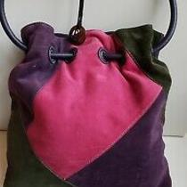 Donald J Pliner Suede Leather Shoudler Bag Purse Tote Color Block Purple Hobo Photo