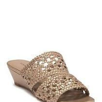 Donald J Pliner Sz 7  Albi Platino Woven Metallic Heels Woven Slide Sandal Wedge Photo