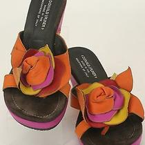 Donald J. Pliner Sz 8 Orange Magenta Red Yellow Leather Flower Wedge (B348) Photo