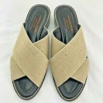 Donald J Pliner Tan Leather & Elastic Fabric Open Toe Mules  - Sz 8 M   Photo