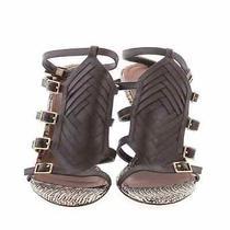 Donald J Pliner Tena Sandals Size 9.5 Brown Leather Snakeskin Ankle Strap Photo