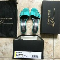 Donald J Pliner Turquoise Mules Slides Sandals Us 7.5 Silver Buckle Kinzy Italy Photo